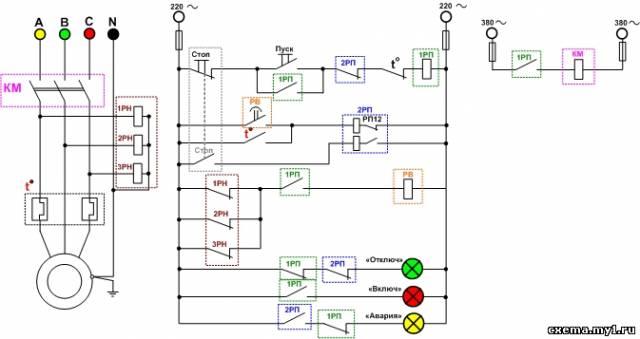 """...замкнутый контакт реле  """"2РП """" и теплового реле  """" t  """", включает катушку управления промежуточного реле  """"1РП """"..."""