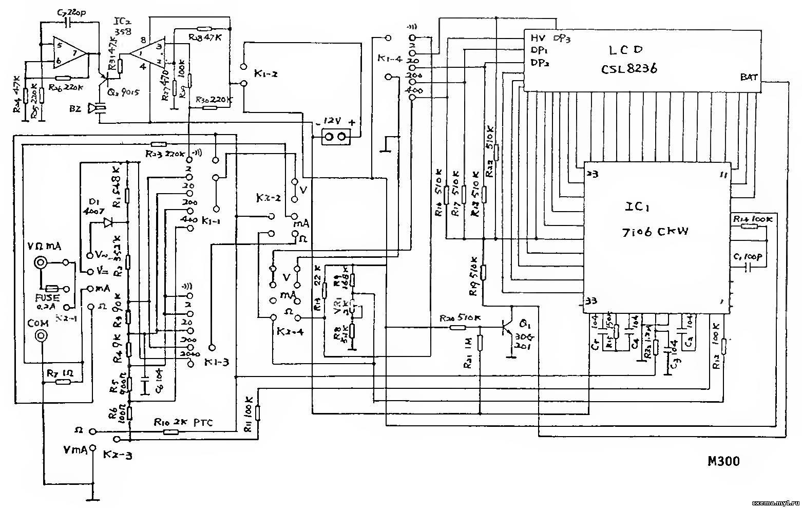 принципиальная схема мультиметра m890f