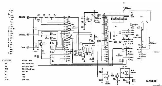 Принципиальная схема мультиметра Mastech MAS830