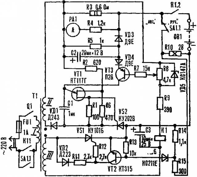 """Предлагаем описание прибора для зарядки аккумуляторов """"асимметричным """" током, оснащенного устройствами защиты от..."""