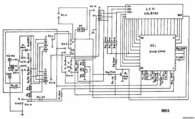 Принципиальная схема мультиметра mastech m93 CVAVR AVR CodeVision cvavr.ru