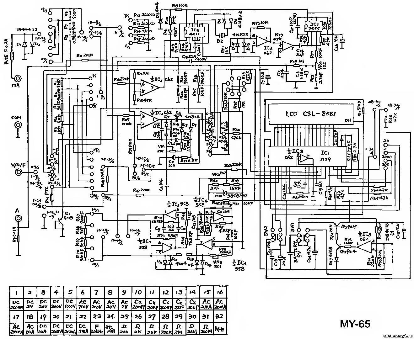 Схема мультиметра м890d