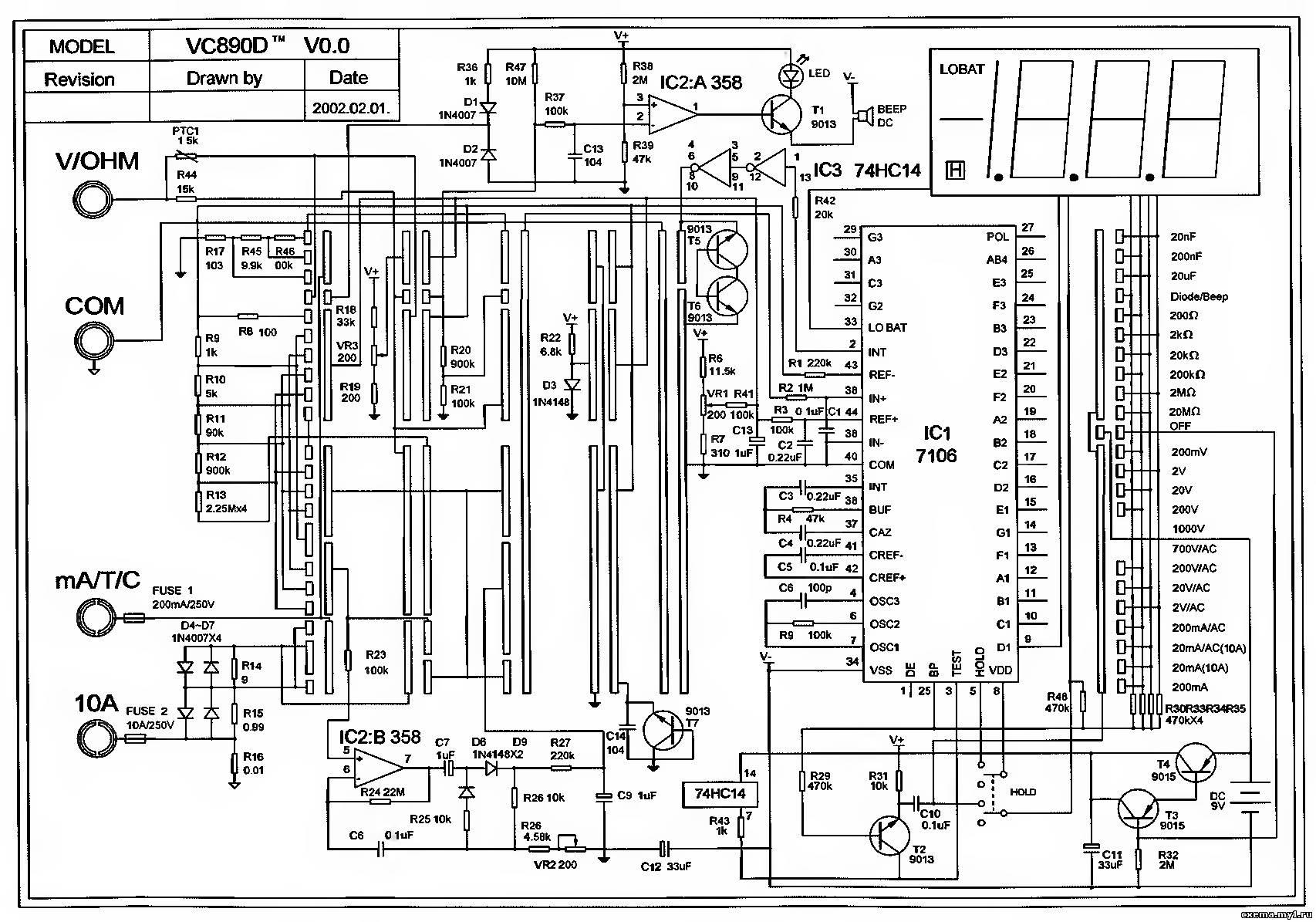 Схема мультиметра M890F - monitor.net.ru