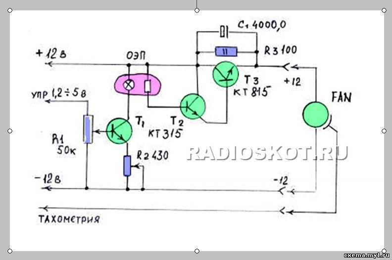 К выходу схемы подключается 3х проводный куллер.  Управляющее напряжение 1.2в- 5в с материнской платы поступает.