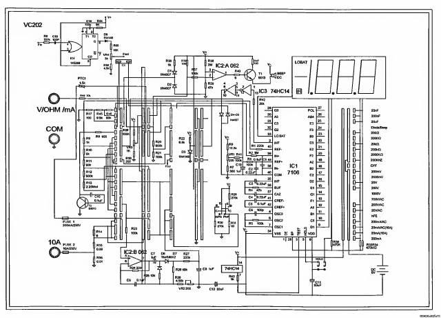 Принципиальная схема мультиметра Victor VC202