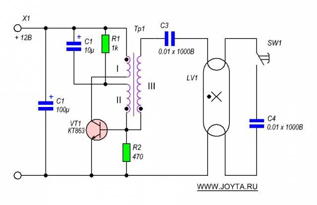Питание лампы дневного света (ЛДС) от аккумулятора 12 вольт CVAVR AVR CodeVision cvavr.ru