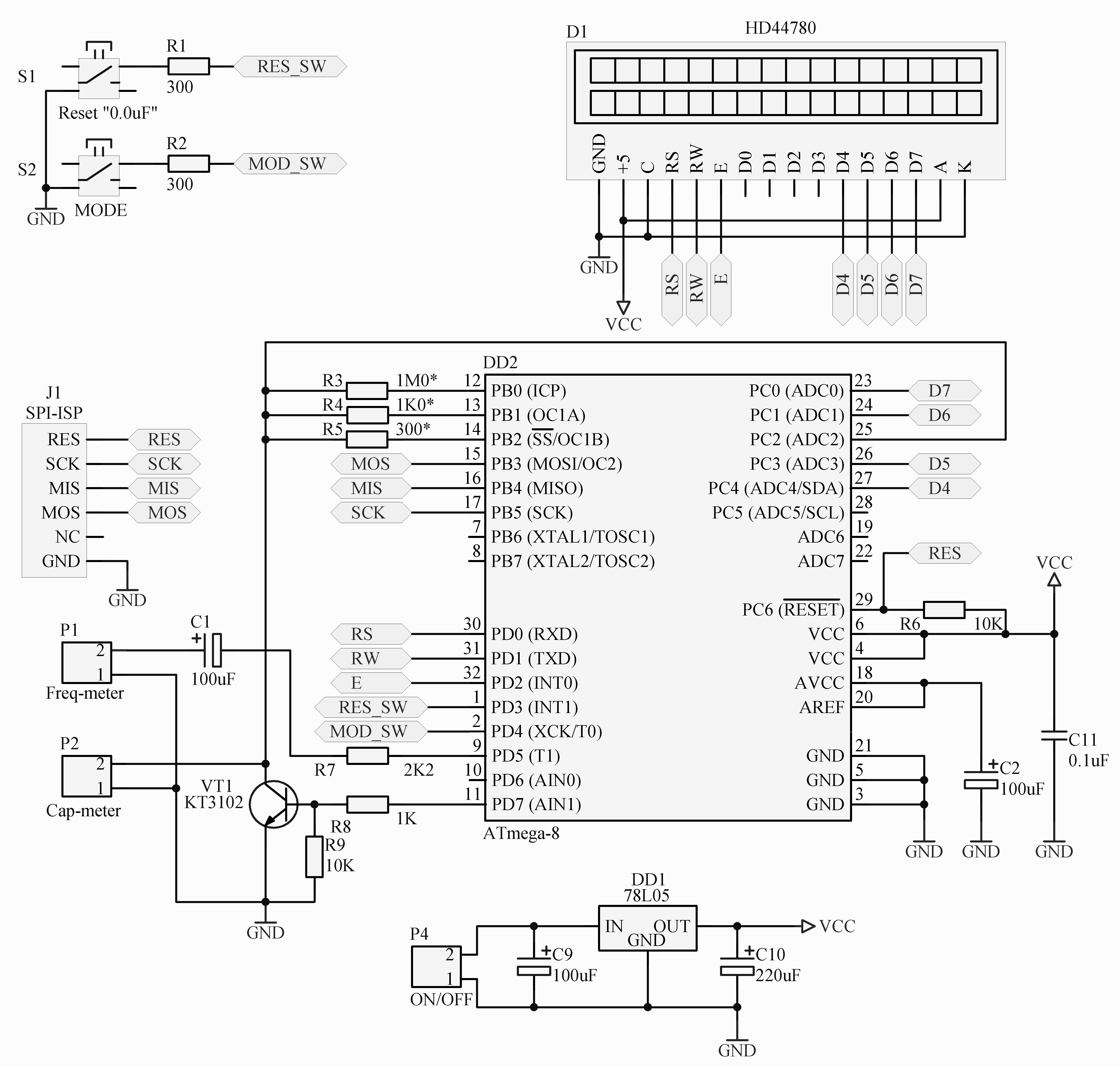 измеритель емкости зарядки схема