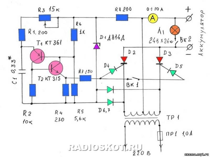 Схемы автоматических зу на тиристоре для авто аккумуляторов.