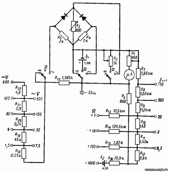 Ампервольтомметр ц20 схема