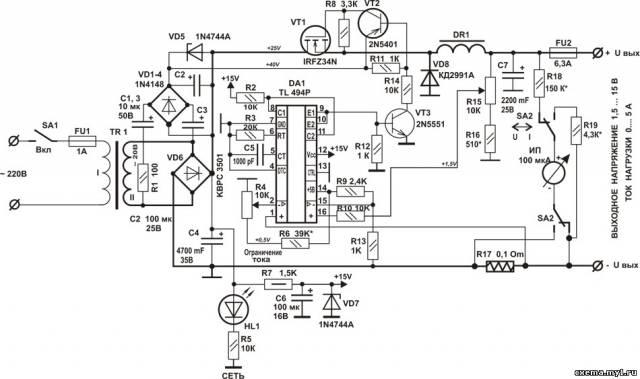 Лабораторный блок питания 1,5 -30В, 0-5А + зарядное устройство на MOSFET транзисторе