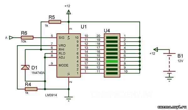 Индикатор уровня на микросхе LM3914