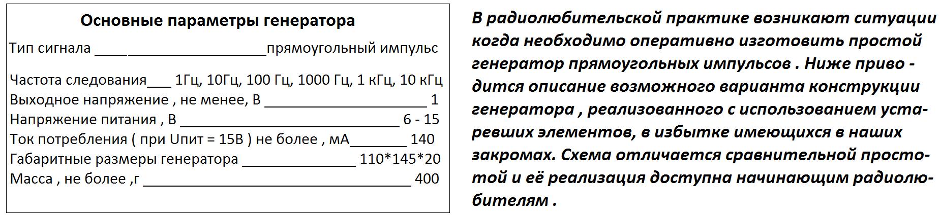 Простой генератор 1 мгц