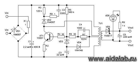 Схема зарядника телефона LG