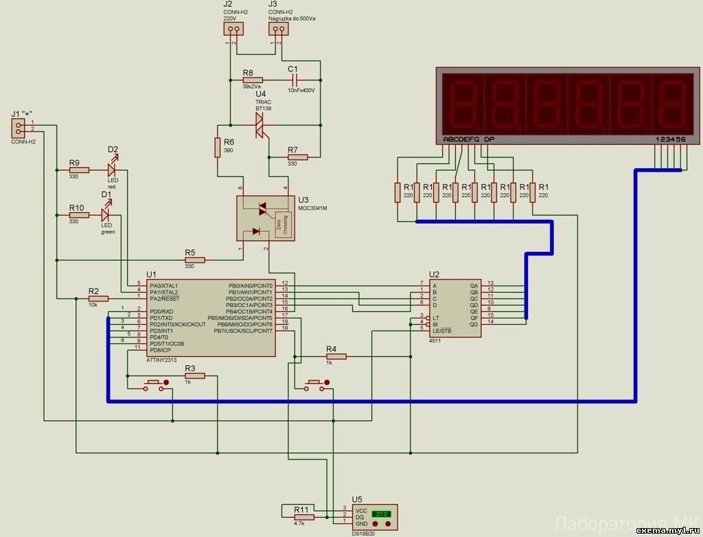 схема платы термореле на инкубатор