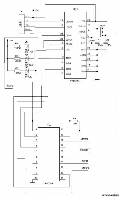 Программатор на FT232RL без управляющего МК.