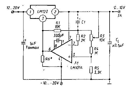 Регулируемый стабилизатор 0-10 В / 3 А на LM123