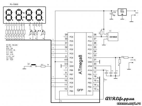 Вольтметр + термометр на Mega8