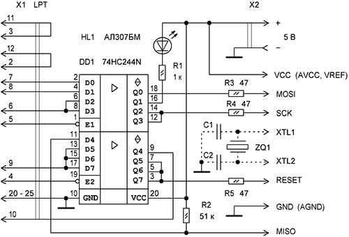 Рис.1 Простой программатор AVR