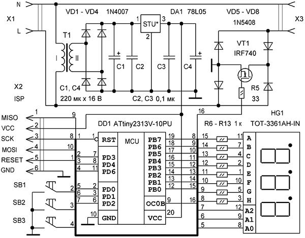 Регулятор мощности на микроконтроллере attiny2313 CVAVR AVR CodeVision cvavr.ru