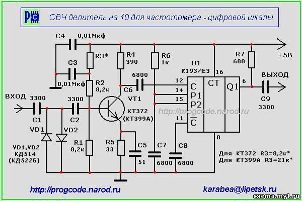 Частотомер - цифровая шкала с LCD 16x1. Схема частотомера ...