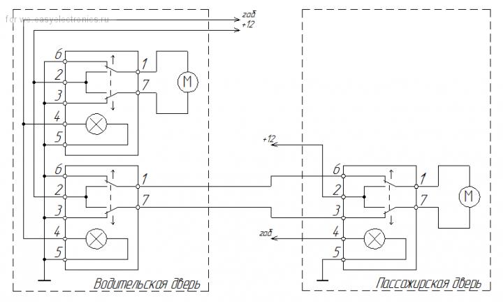 Схема подключения доводчика стекол 105