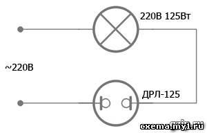 Фото схемы подключения ламп дневного света 99