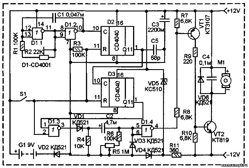 Таймер для полива схема электрическая
