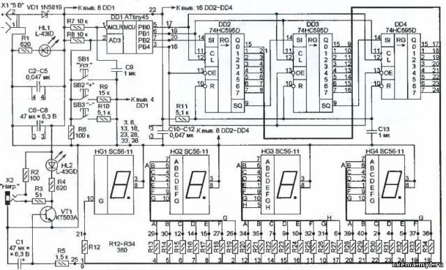 74hc595 схема включения