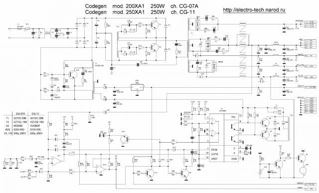 Схема стандартного ATX БП