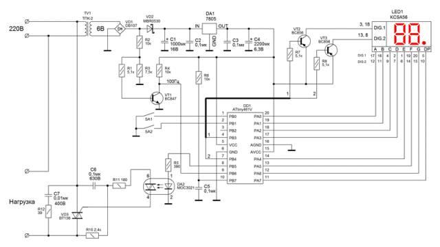 Схема фазового регулятора мощности