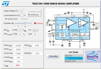 Симулятор теплового режима усилителя на TDA7294 (TDA7293)