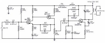 УКВ передатчик с дальностью действия 2 км Описание При согласованной антенне приведенная здесь схема УКВ передатчика...