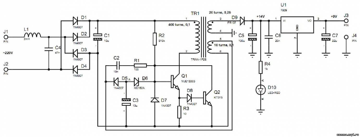 Схема импульсного блока питания на шим контроллере