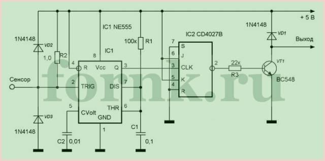 Простой сенсорный переключатель на таймере NE555