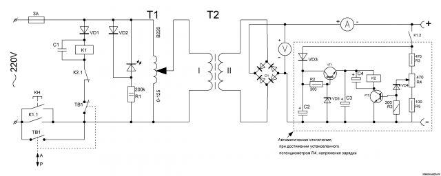 Схема прибора для автоматической тренировки аккумуляторов