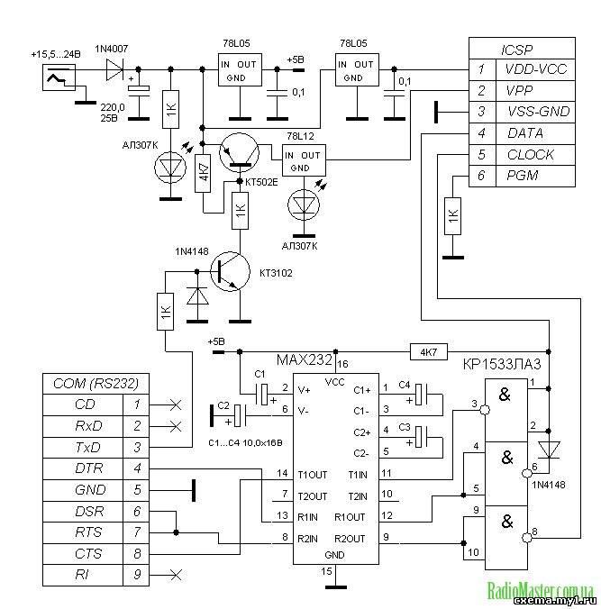 Схема программатора тут: