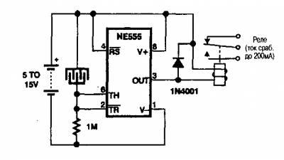 В приведенной на рисунке схеме детектора ливней реле включается, когда вода перекрывает зазор между двумя...