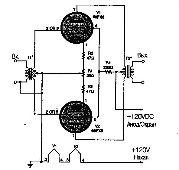 На схеме показан двухтактный усилитель низкой частоты, использующий пару ламп 60FX5.