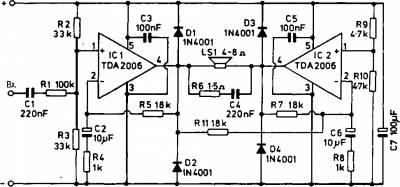 МОЩНЫЙ УНЧ  (бустер) собран на двух микросхемах усилителей мощности типа TDA2006