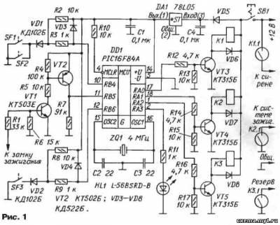 Контроллер...  После подачи напряжения питания включается тактирующий генератор микроконтроллера с кварцевым...