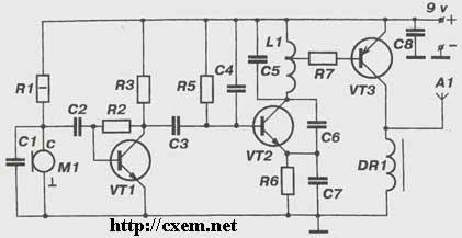 Принципиальная схема жучка (радиопередатчика) под ЧИП (SMD) элементы