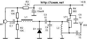 Схема радиомикрофона (жучка) на полевом транзисторе